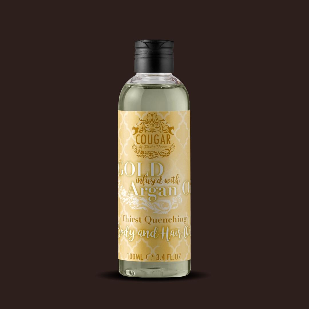 Olej na vlasy a telo s extraktom zo zlata a arganového oleja
